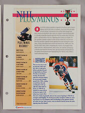 NHL PLUS MINUS RECORD BOOK WAYNE GRETZKY - SPORTS HEROES SHEET CARD