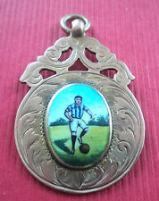 9ct Rose Gold Enamel Watch Fob / Medal / Pendant  - Football 1923 Durham Miners