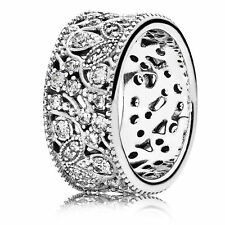 GENUINE AUTHENTIC PANDORA SILVER SHIMMERING LEAVES RING 190965CZ SIZE 56