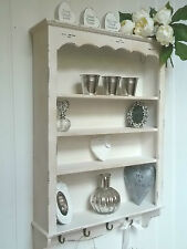 Shabby Chic Wall Unit 4 Shelf Storage Cupboard Cabinet Hook French Vintage Style