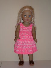 "Bright Orange Chevron Print Sundress for 18"" Doll Clothes American Girl"