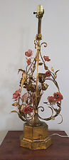 """Vintage* MCM* Italian Tole rose lamp* 31"""" *hand painted*rare*gilded*shabby chic*"""