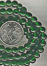 100pcs VINTAGE GLASS EMERALD GREEN ROUND SMOOTH 6mm. BEADS   d502