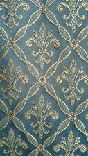BESPOKE TEAL BROCADE FLEUR DE LIS HEAVYWEIGHT CURTAINS LINED & WEIGHTED.