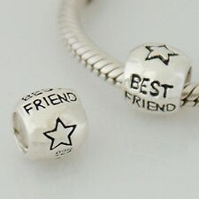 BEST FRIEND spacer - Star - Solid 925 sterling silver European charm bead