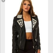 NWT UNIF Noway No Way Black Faux Leather Moto Motorcycle Jacket S Small Ret $225
