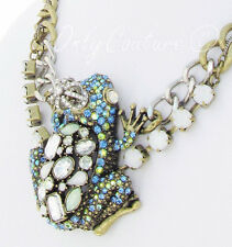 BETSEY JOHNSON 'Reptiles' Pave Blue/Green Frog Princess Pendant Necklace