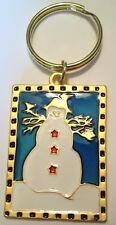Christmas Snowman Vintage Automobile Keychain Gold Plate & Colors NEW