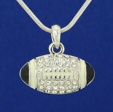 American Football 3D Ball W Swarovski Crystal Black Pendant Necklace Jewelry
