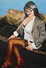 Erotic Original Oil Painting   Shades by Terry P Wylde : Judith in Red Shoes