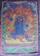 Antique Old Master Quality Hand Painted Tibetan Vajrapani Thangka, Nepal