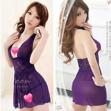 New Women Sexy Sheer Pajama Sleepwear V-neck Backless Robe Gown Dress+ G-string