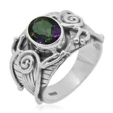 Mystic Topaz Sterling Silver Men's Ring Size 7.0 (2.1 cts)