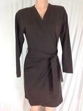 YVES SAINT LAURENT YSL PARIS RIVE GAUCHE PARIS Brown Wool Wrap Dress VINTAGE S M
