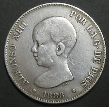 ESPAGNE - 5 PESETAS 1888 (1888)  MP. .M.- ALPHONSO XIII - Argent - N°2