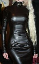 New Genuine soft sexy Lambskin Leather Women Designer party wear Ladies Dress D1