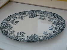 1900 - 24 LARGE HOLLINSHEAD AND KIRKHAM OVAL PLATTER WITH A BLUE / GREY PATTERN
