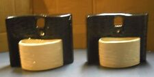 VINTAGE RETRO 1950'S BLACK WHITE WALL POCKET CERAMIC POTTERY PLANTERS PAIR