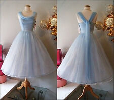 Vintage Blue Tea Length Cocktail Prom Party Ball Evening Formal Bridesmaid Dress