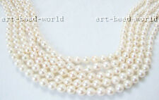 one strand AB 6.5-7mm white color Natural  sea water pearl loose beads necklace