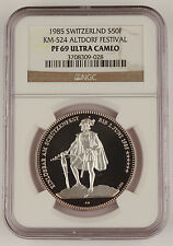 Switzerland 1985 50 Francs Silver Proof Coin Altdorf Festival NGC PF69 KM-S24
