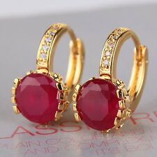 Wedding present! 24k yellow gold filled Vintage style  ruby leverback earring