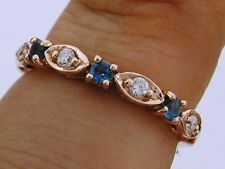 R103- 9ct Solid Rose Gold NATURAL DIAMOND & London Topaz Eternity Ring size M