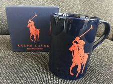 Ralph Lauren Polo Player Horse Red and Navy Tall Mug Cup-New in Box