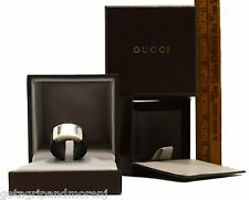 In Box GUCCI 925 STERLING SILVER RING w/ Wide BLACK RUBBER BAND 7.0 oz US Sz: 10