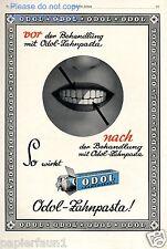 Odol vor & nach Behandlung XL Reklame von 1928 weisse Zähne Zahnbeleg Zahn