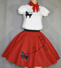"""3 Pc Red 50's Poodle Skirt outfit Girl Sizes 7,8,9 Waist 20""""-27"""" Length 25"""""""