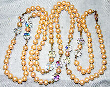 VINTAGE CLASSIC PEARL GLASS WITH AURORA BOREALIS CRYSTAL SUPER LONG NECKLACE