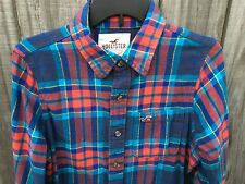 Men's Hollister Blue Red Green Yellow Plaid Long Sleeve Flannel Shirt Size M