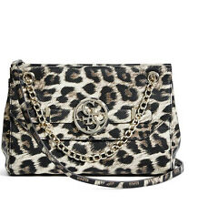 NWT Guess Kaitlin Flap Crossbody Handbag Chain strap Animal Leopard print