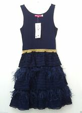 NWT Derhy France Couture $$$ 10 (8) Stunning Blue Feather Pageant Party Dress