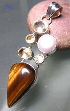 Sterling silver tiger's eye, freshwater pearl & cut citrine gemstones pendant.