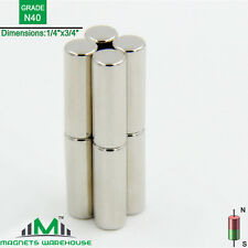 "8-count neodymium N40 Ndfeb cylinder magnets 1/4 x 3/4"" (true N40)"