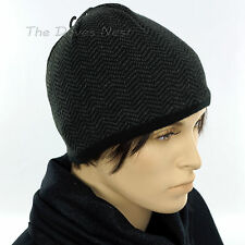 APT. 9 Men's BLACK & GRAY BEANIE HAT Herringbone Print FLEECE Lining WINTER CAP