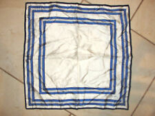 "LAUREN RALPH LAUREN 24"" 100% SILK HIGH CLASS LIGHT WEIGHT SCARF BLUE WHITE"