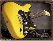 FENDER GUITARS USA, YELLOW STRATOCASTER METAL WALL SIGN 40x30 cm , MAKE HISTORY