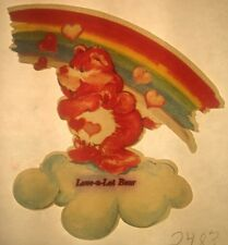 Vintage 70s Care Bears Love-A-Lot Bear Iron-On Transfer Standing On A Cloud RARE