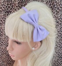 """NEW PLAIN LILAC COTTON FABRIC 5"""" SIDE BOW ALICE HAIR HEAD BAND GIRLS OR ADULT"""