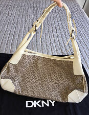 $225 DKNY Signature Monogram Beige Tan Canvas White Leather Trim Handbag