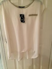 Oasis Top Pleat Back Gold Foil Trim New With Tags Cream Colour Size 12
