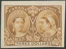 CANADA #63P4 $3 JUBILEE PLATE PROOF ON CARD VF+ SCARCE HV9926
