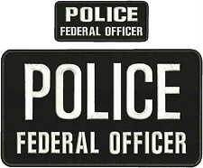 POLICE FEDERAL OFFICER 6X11 &2X5 hook on backWHITE LETTERS