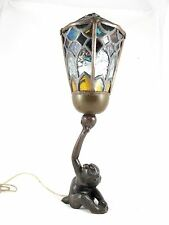 JAPANESE BRONZE MONKEY LAMP WITH LEADLIGHT LAMP C 1900