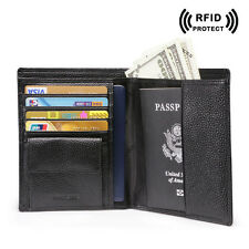 Men Leather Bifold Passport Travel Wallet ID Document Ticket Holder Black