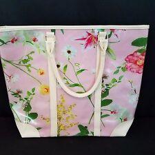Ulta Pink Floral Tote Bag Large Purse 17 1/2 x 14 1/2 Vinyl Weekender Beach