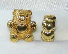 *New* set of 2 Rhona Sutton gold plated sterling silver charm beads - bear/heart